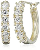 Sterling Silver with Yellow Gold Plating Cubic Zirconia Hoop Earrings
