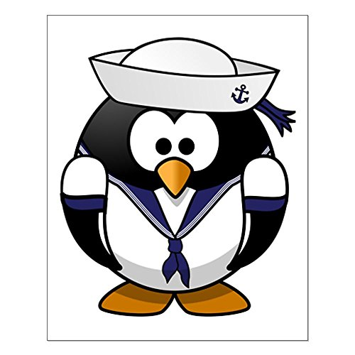 Small Poster Little Round Penguin - Navy Sailor