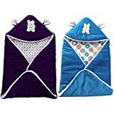 MY NEWBORN BRAND Baby's Combo Of 2 All Season Use 3 In 1 Baby Wrapper Cum Blanket Cum Sleeping Bag Cum Bedding (0-4Months) (Purple-Sky)