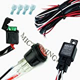 MICTUNING® 40 Amp Universal Wiring Harness for Off Road LED Light Bars_Relay WATERPROOF ON/OFF SWITCH_ and LED Work Light Lamps ATV, UTV, Truck, SUV, Polaris Razor RZR, Rigid, Yamaha, Ranger