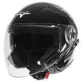 Jago Motorradhelm Motorrad Kopfschutz Jethelm in schwarz inklusive Sonnenblende und