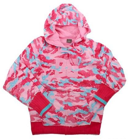 DC Daffy Women's Hooded Zip Sweatshirt - X-Large - Multi Pink Camo