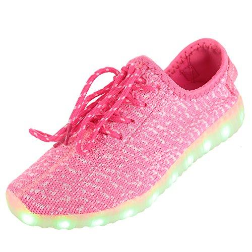 HOTAHOY Unisex Men Women LED Shoes 7 Colors Colorful Glowing Light Up USB Charging (7.5 D(M) US, Pink)