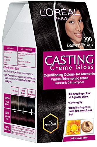 LOreal Paris Casting Creme Gloss, Darkest Brown 300, 87.5g+72ml