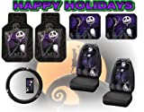 Nightmare Before Christmas Full Auto Interior Gift Set Front & Rear Floor Mats Seat Covers & Steering Wheel Jack Skellington Disney & Bonus Detailing WashMItt