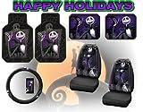 Nightmare Before Christmas Full Auto Interior Gift Set Front & Rear Floor Mats Seat Covers & Steering Wheel Jack Skellington Disney & Bonus Detailing WashMItt