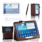 MOFRED® Brown Samsung Galaxy Tab 3 - 10.1 inch Case-MOFRED® Retail Packed Executive Multi Function Standby Case with Built-in Magnet for Sleep / Wake Feature For the Samsung Galaxy Tab 3 10.1 inch Tablet + Screen Protector + Stylus Pen (Available in Muti