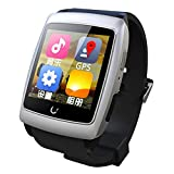 EasySMX Smart Watch U18 Andorid GPS WIFI Bluetooth Android Dual-core ROM 4GB Internet Smartwatch for Samsung/Sony/HTC/LG/Xiaomi (White)