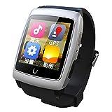 EasySMX Smart Watch U18 Andorid GPS WIFI Bluetooth Android Dual-core ROM 4GB Internet Smartwatch for Samsung/Sony/HTC/LG/Xiaomi (White)