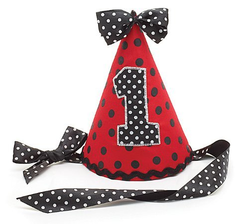 "Ladybug 1st Birthday Party Hat #1 Red Black Polka Dot Fabric Ribbon Tie 7"" tall"