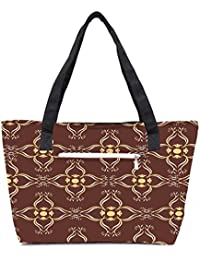 Pack Of 2 Abstract Brown Combo Tote Shopping Grocery Bag With Coin Pencil Purse