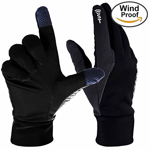 Touch Gloves, Ozero Touchscreen Glove - Windproof and Water Resistant - Light Weight Thin - for Running, Cycling, Riding, Outdoor Sports in Winter - for Women and Men - Black (Medium) (Split Mittens compare prices)