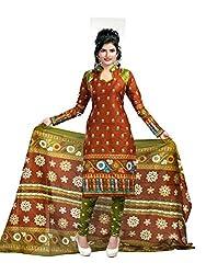 Fashionx Beige cotton printed unstitched dress material