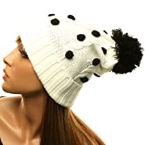 Winter 3D Polka Dots Pom Pom Cuff Fold Cable Knit Beanie Ski Snow Hat Cap White