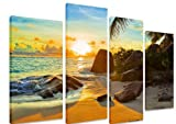 Multi Split Panel Canvas Artwork Art - Tropical Beach At Sunset Background Paradise Palm Trees Blue Sky Golden Sand Rock - ART Depot OUTLET - 4 Panel - 101cm x 71cm (40