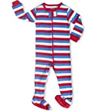 Leveret Footed &quot;American Flag Striped&quot; Pajama Sleeper 100% Cotton (Size 6M-5T)