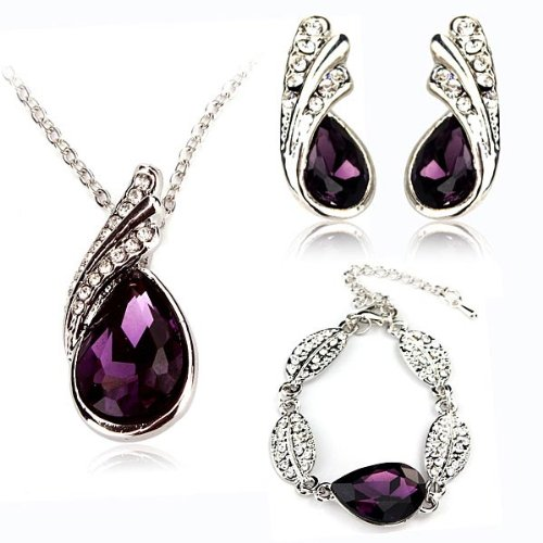 Teardrop Crystal Necklace Earrings Bracelet Jewelry Set Purple 3Pcs By Chonlyshop