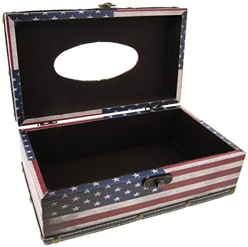 Tissue box wood cover holder american flag red white for Red white and blue bathroom accessories