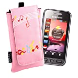 DURAGADGET Pink Music Design Protective Phone Pouch For Samsung Galaxy Mini 2 (S6500D), GT-S5360 Galaxy Y, Exhibit II, GT-B2100 B2100 Solid Extreme Sim Free Mobile Phone & E1200, With Neck Strap