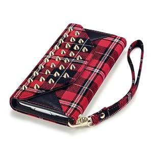 Terrapin Handy Neumodisch Gestüt Leder Brieftasche Case Tasche Hülle für Samsung Galaxy S5 (SCHOTTENKARO - GESTÜT)