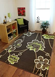 Florence Cheap Chocolate Brown and Green Modern Floral Pattern Rug 813- 4 Sizes from The Rug House