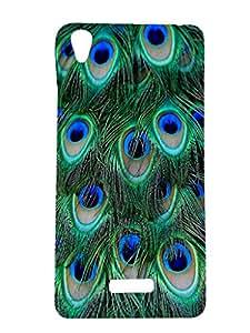 Letz Dezine Peacock Feather Design Printed Mobile Back Case Cover for Lava Pixel V1