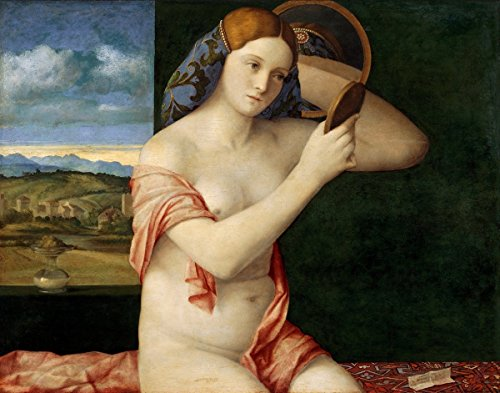 Giovanni Bellini - Naked Young Woman in Front of the Mirror, Size 24x32 inch, Gallery wrapped canvas art print wall décor