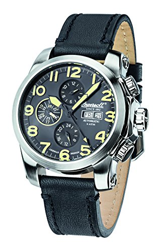Ingersoll Unisex Automatic Watch with Black Dial Analogue Display and Black Leather Strap IN2301SBK