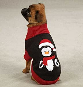 Zack & Zoey Black & Red Christmas Holiday Penguin Dog Sweater Small/Medium from Zack & Zoey