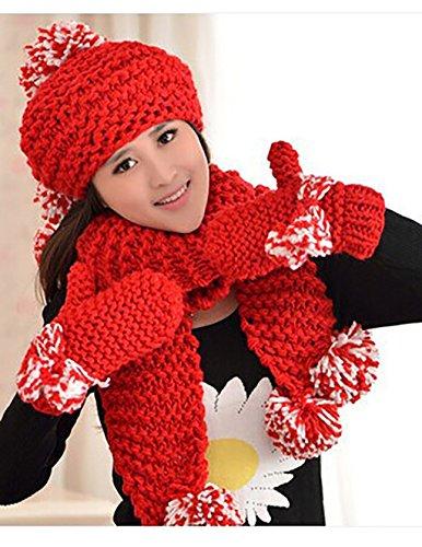 Automne-et-hiver-chapeau-de-laine-de-dames-gants-foulard-chapeau-trois-pices