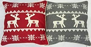 2 X Christmas Reindeer Wool Red White Silver Grey
