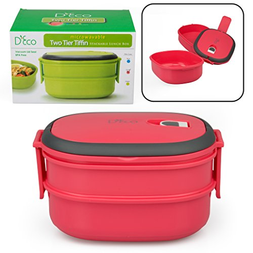 Microwavable Lunch Box- Stacking Two Tier Tiffin With Vacuum Seal Lid (Coral) front-283429