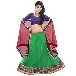 RedHot Fashion Women's Net Semi-stitched Green Designer Lehenga Choli And Dupatta Set (RHRAJ2005)