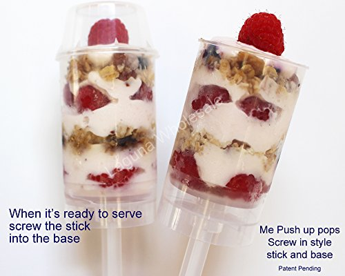 SupaCute Desserts Push up Pop Containers Screw in Stick and Base Perfect As Confetti Poppers, Party Favors and Cake Push Pops Set of 24 Piece, Round (Push Pop Display compare prices)