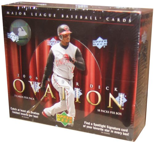 2006 Upper Deck Ovation Baseball Cards Unopened Hobby Box (18 packs/box, 5 cards per pack, 1 Spotlight Signature Autograph, 1 Ovation Apparel Jersey Card & 1 #ed Rookie in EVERY BOX!)
