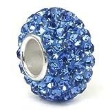 Kobelle Tanzanite Blue Crystal Ball Bead Sterling Silver Charm Fits Pandora Chamilia Biagi Trollbeads European Bracelet