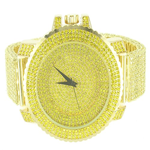 14k Yellow Gold Finish Step Style Men Techno Pave Bling King Metal Wrist Watch (Watches Techno Pave compare prices)