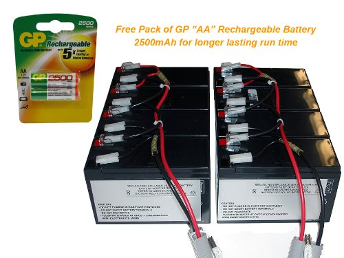 APC Replacement Cartridge #12 for APC SU3000RMI3U - Powerwarehouse 12V, 7Amp with FREE GP Rechargeable AA NiMH Battery 3 6v 2400mah rechargeable battery pack for psp 3000 2000