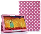 SUPCASE New Samsung Galaxy Note 10.1 2014 Edition Slim Fit Folio Leather Case (Spotty Pink) - Elastic Hand Strap