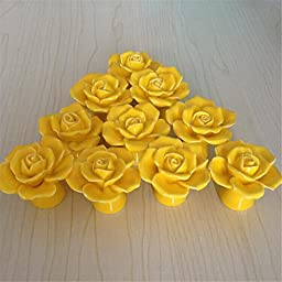 SunKni 41mm 10Pcs Rose Flower Floral Knobs Ceramic Drawer Handles Pulls for Wardrobe Cupboard Dresser Cabinet Closet Kitchen Furniture with Free Screws 2016 New Sets Pack of 10 (Yellow)