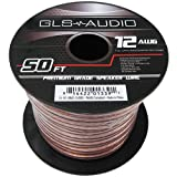 GLS Audio Premium 12 Gauge 50 Feet Speaker Wire – True 12AWG Speaker Cable 50ft Clear Jacket – High Quality 50′ Spool Roll 12G 12/2 Bulk thumbnail