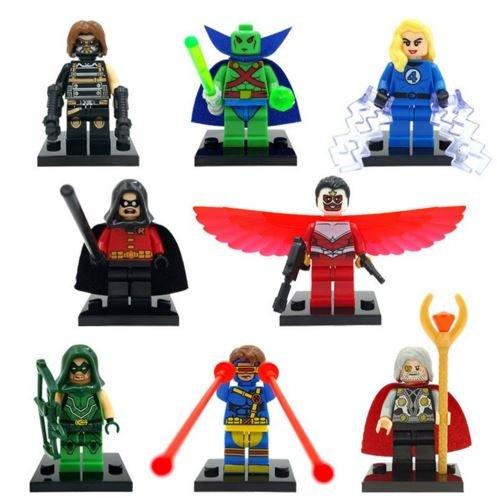 ActionFigures [Arrow/Cyclop FigureHeroes Mini Blocks With Weapon ] Minifigures Educational Toys DIY Building Blocks