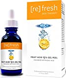 Fruit Acid Gel Peel 15% (Lactic Acid, Glycolic Acid) with Kojic Acid, Natural Chemical Peel 1oz Refresh Skin Therapy