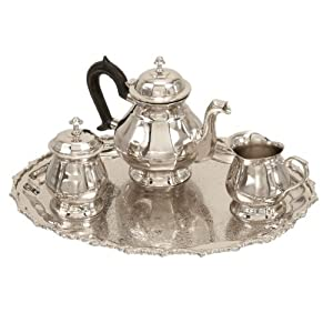 Benzara 16052 Set Of 4 Brass Sterling Silver Plated Tea Set