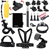 Luxebell 5-in-1 Accessories Kit Chest Mount Harness / Head Strap / Extender Monopod For Gopro Hero 4, Session, Black, Silver, Hero+ LCD, 3+, 3, 2 Camera, Storage Bag And Card Reader For Gift