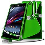 Sony Xperia Z Ultra XL39H Green Elegant Premium S-Linie Wellen-Gel-Kasten-Haut-Abdeckung mit LCD-Display Schutzfolie, Poliertuch & Hands Free-Ohrhörer mit Mikrofon Mic & On-Off-Taste Einbau by Spyrox