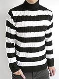 (オークランド) Oakland ケーブル編み タートルネック ニット セーター ハイネック 起毛 防寒 オーセンティック カジュアル モード メンズ ブラック×オフホワイト Lサイズ
