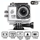 Neewer® 1080P WIFI Sport-Kamera mit 1.5Inch LCD Anzeige 12MP 170 Weitwinkel + Voll HD Weitwinkel-Objektiv Mikro USB 2.0 Mikro-HDMI-Unterstützung 32G TF-Karte SD-Karte mit 900mAh Aufladebare Batterie Akku Unter-Wasser 30m (Silber)