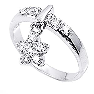 Little Treasures Rhodium Plated Sterling Silver Wedding & Engagement Ring Clear CZ Plumeria Charm Ring