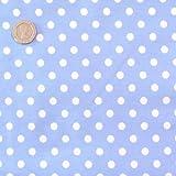 Pale Blue 7mm Polka Dot Fabric 1 Metre 100 % Cotton Spotty.